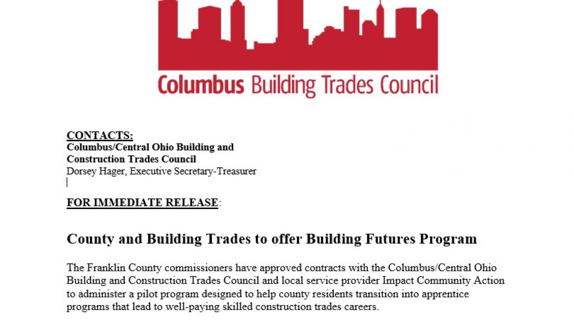 County and Building Trades to offer Building Futures Program